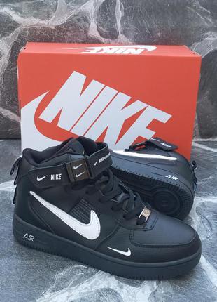 Зимние подростковые кроссовки nike air force кожаные, черные, хайтопы