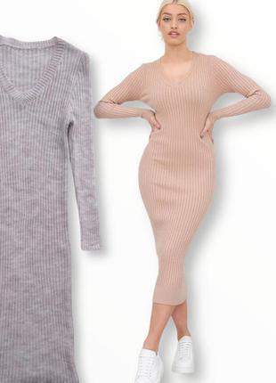 Стильное вязаное платье в рубчик made in italy