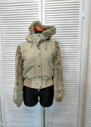 Стильна куртка бомбер жилетка 2 в 1 bench мех шуба съёмные рукава