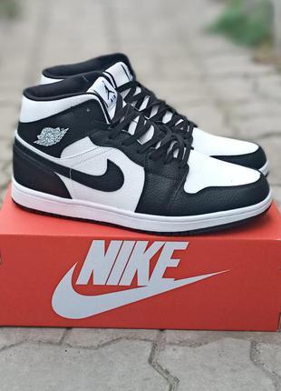 Мужские зимние кроссовки nike air jordan winter кожаные, черные, белые