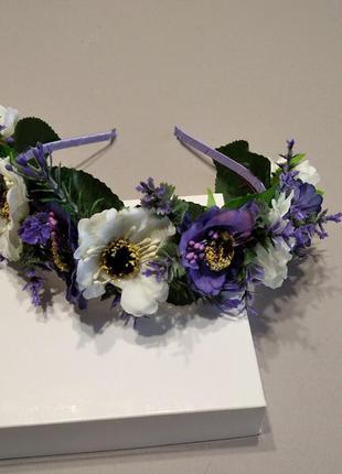 Обруч с фиолетовими цветами, нарядний ободок для девочки