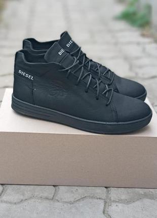 Мужские зимние ботинки diesel winter кожаные, черные