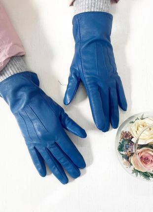 Синие кожаные перчатки на флисе