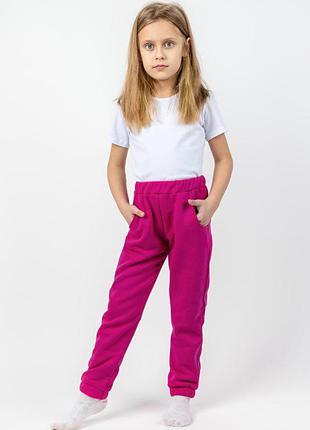 Детские теплые штаны, малиновые