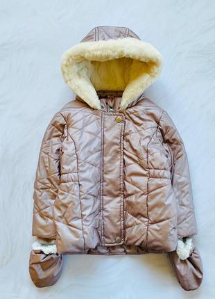 Junior  стильная зимняя  куртка на меху  на девочку 18-24 мес