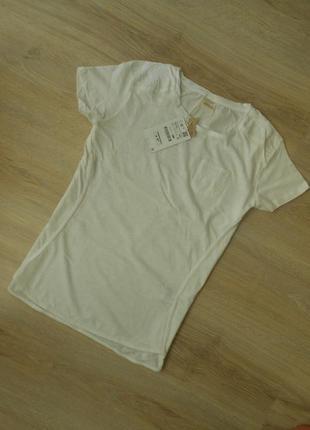 Zara белая базовая футболка био-хлопок - m