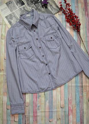 Интересная рубашка в полоску с контрастными швами via cortesa