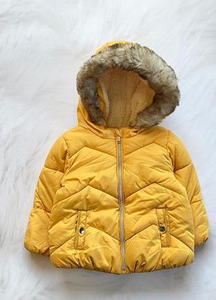F&f  стильная зимняя  куртка  на меху на девочку  9-12 мес