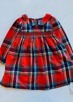 M&s новое    стильное фланелевое  платье на девочку  18-24 мес