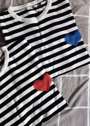 Тельняшка кофта реглан полосатый оверсайз с сердцем