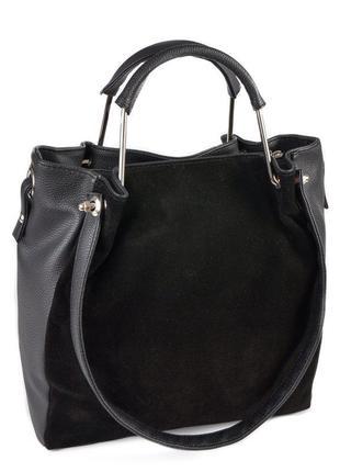 Черная замшевая женская сумка шоппер с металлическими ручками и ручками на плечо1