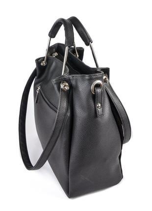 Черная замшевая женская сумка шоппер с металлическими ручками и ручками на плечо2