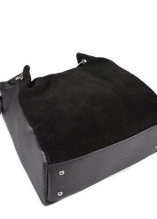 Черная замшевая женская сумка шоппер с металлическими ручками и ручками на плечо3