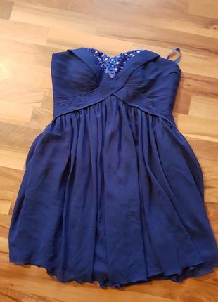 Короткое синие нарядное платье