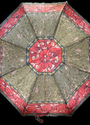 Зонт полуавтомат max 101-1 коричневый с красным