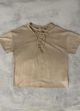 Замшевая футболка со шнуровкой stradivarius