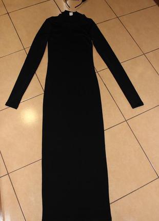 Шикарное приталенное платье-макси с длинным рукавом