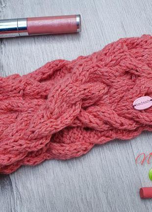 Осенняя,  вязаная, разовая повязка на голову девочке, handmade