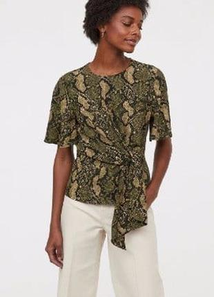 Стильна блуза h&m  зміїний принт змеиная завязка
