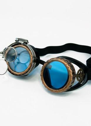 Очки стимпанк гогглы авиаторы c лупой черные с бронзой +подарок