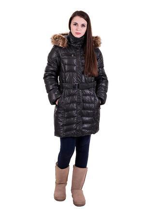 Молодежное зимнее пальто черное и розовое с капюшоном, размеры: xs,l