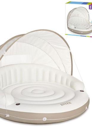 Круглый, надувной матрас intex 58292 с подстаканником, спинкой и тканевым навесом (199*199*150 см)