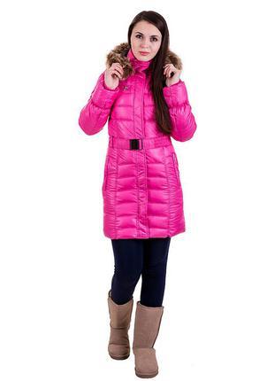 Молодежное зимнее пальто розовое с капюшоном, размеры: xs