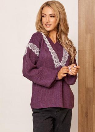 Фиолетовый шерстяной пуловер с кружевом
