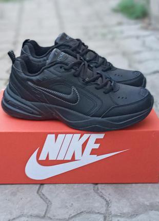Мужские термо кроссовки nike air monarch черные, демисезонные