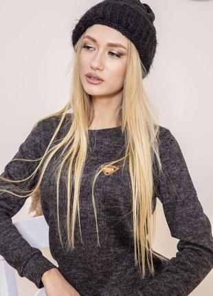 Женская шапка тёплая чёрная клёвая