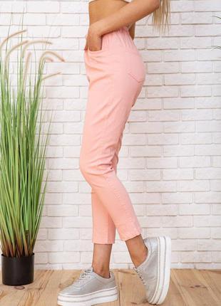 Персикового цвета брюки высокая посадка на пуговках укорочённая модель 7/8 -25 26 р xs s m l