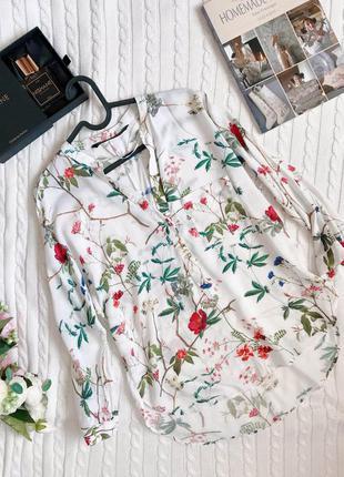 Сорочка zara блуза в квіти рослиний орнамент