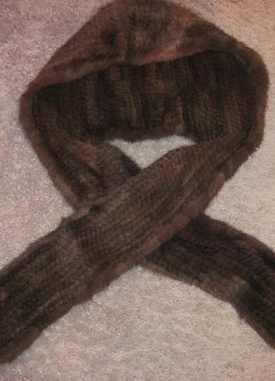 Норковый капор, шапка, шарф