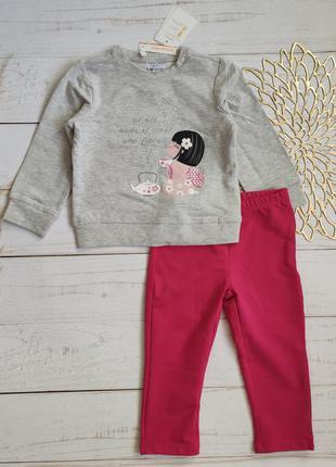 Комплект лосины свитшот ovs fagottino италия р. 86 на 18-24 мес трехнитка костюм набор кофта штаны