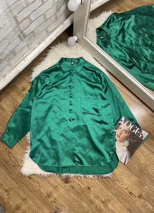 Шовкова блуза насиченого зеленого коліру