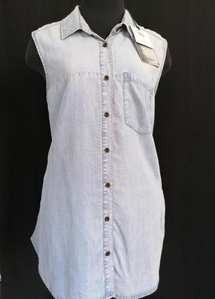 Рубашка без руковов джинс тенсель