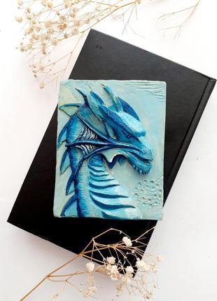 🌊🐉дракон 🐲 морской картина 3d объемная ручная работа скульптурный гипс в эмалях