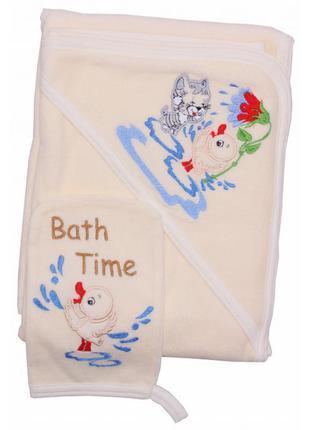 Детское махровое полотенце-уголок с капюшоном для малыша