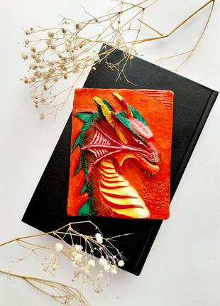 🔥🐉огненный дракон 🐲 картина объемная 3d ручная работа из скульптурного гипса с эмалями