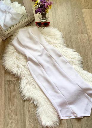 Белое платье -миди по фигуре 🥰