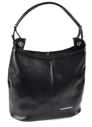 Черная женская глянцевая сумка мешок на плечо шоппер с одной ручкой