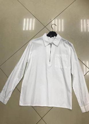 Срочно разпродую все!🆘  белая котоновая рубашка с молнией