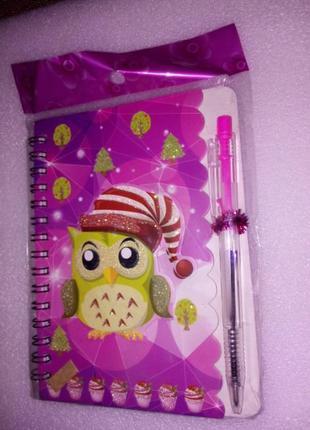 Яркий блокнот с ручкой для девочек! новый!