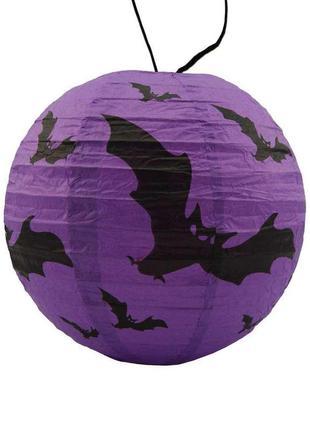 Декор подвесной на хэллоуин фиолетовый бумажный шар на хэллоуин