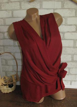 Бордовая блуза на запах h&m eur 36/38