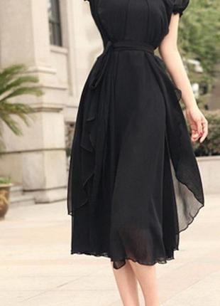 Великолепное платье из шифона с романтичным рукавом-фонариком и поясом