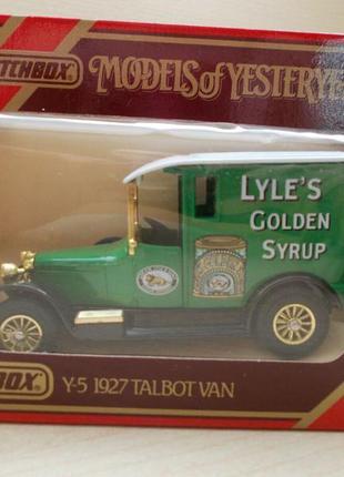 Matchbox y 5 1:43 1:47 1927 talbot van мачбокс 1989 англия lyle's golden syrup коробочка мачбокс