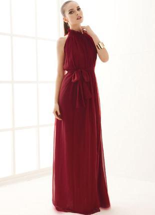 Элегантное платье из шифона цвет: винный. размер s-l (44-48 укр)