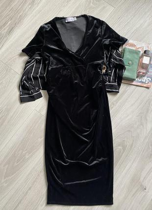 Чёрное бархатное платье на беременных asos