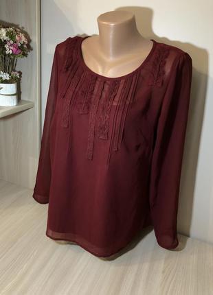 Блузка бордова блуза прямого крою marks&spencer 12/40